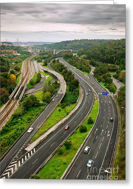 Rush Hour Greeting Cards - Roads Top View Greeting Card by Carlos Caetano