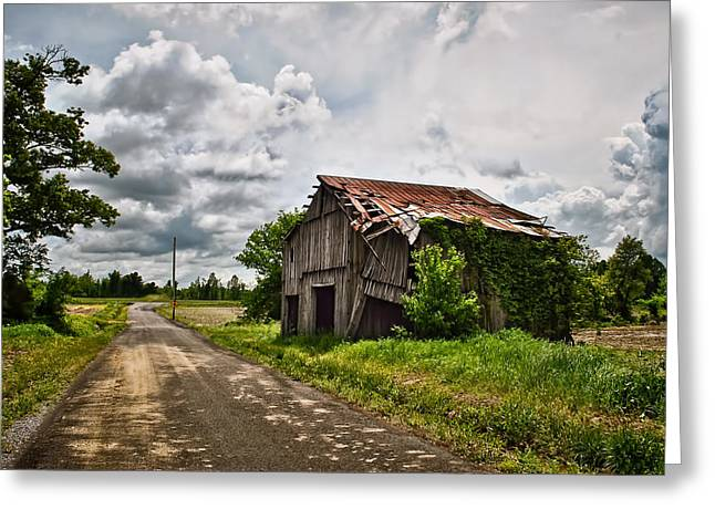 Barn Yard Greeting Cards - Roadside Barn Greeting Card by Greg Jackson