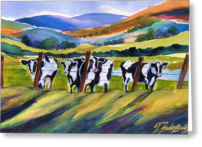 Therese Fowler-bailey Greeting Cards - Roadside Cows near San Luis Greeting Card by Therese Fowler-Bailey
