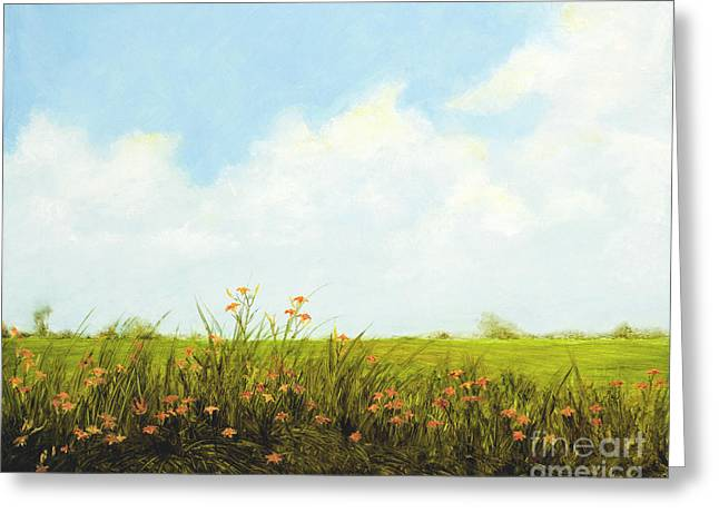Day Lilly Paintings Greeting Cards - Roadside Daylillies Greeting Card by Cindy Roesinger