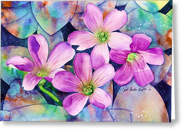 Pancho Greeting Cards - Roadside Flowers Painting Greeting Card by Janet Pancho Gupta