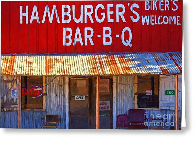 Back Roads Digital Art Greeting Cards - Roadside Hamburger Joint 20130309 Greeting Card by Wingsdomain Art and Photography