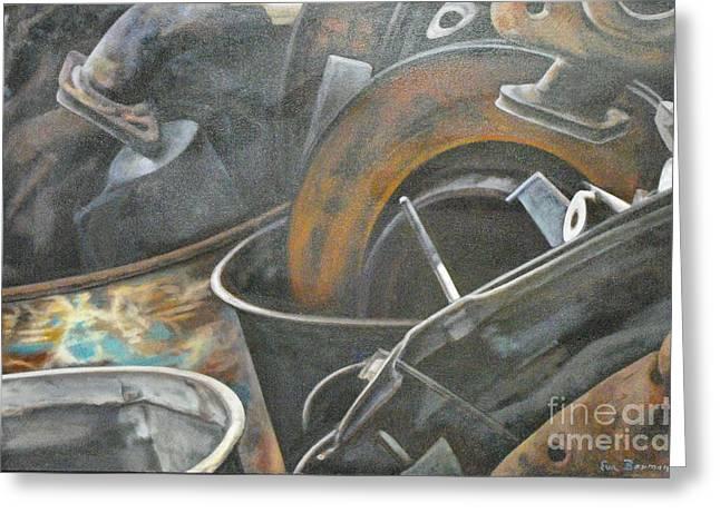 Car Part Paintings Greeting Cards - Roadside Junk 4 Greeting Card by Eva Berman