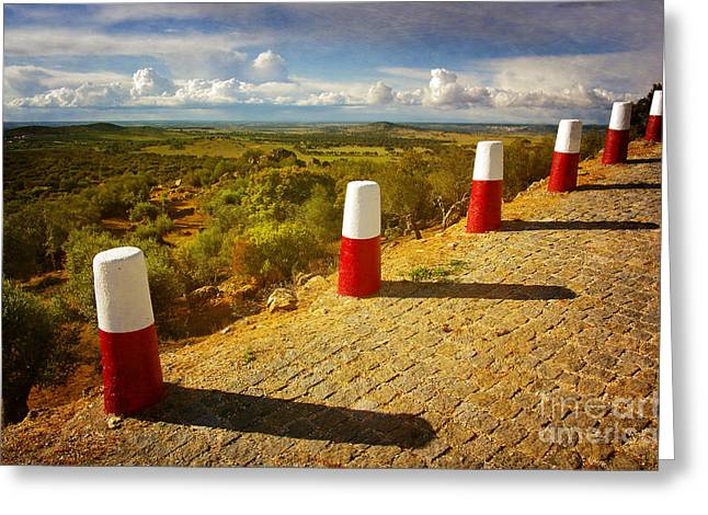 Old Roadway Greeting Cards - Roadside Pillars Greeting Card by Carlos Caetano