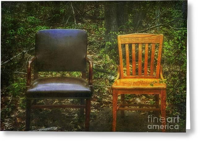 Empty Chairs Greeting Cards - Roadside Seating Greeting Card by Debra Fedchin