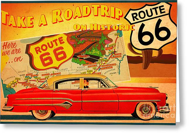 Vintage Travel Greeting Cards - Roadtrip Greeting Card by Cinema Photography