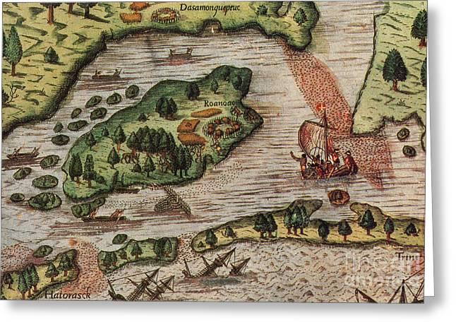 Roanoke Island Greeting Cards - Roanoke Island 1585 Greeting Card by Photo Researchers