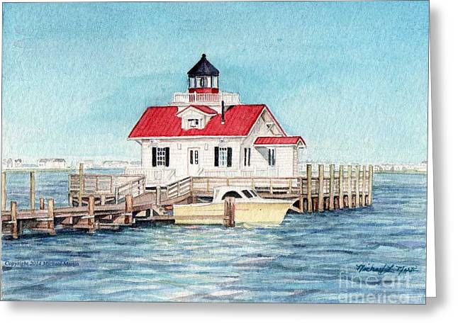 Shallowbag Bay Greeting Cards - Roanoke Island Lighthouse Greeting Card by Michael  Martin