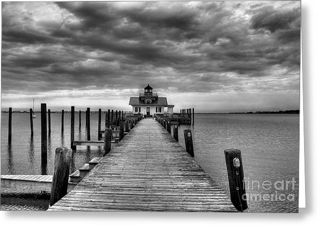 Sailboat Photos Greeting Cards - Roanoke Marshes Light 2 BW Greeting Card by Mel Steinhauer