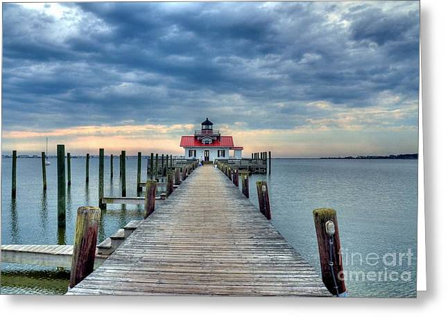 Docked Boats Greeting Cards - Roanoke Marshes Light 2 Greeting Card by Mel Steinhauer