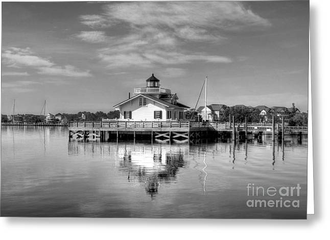Bloat Greeting Cards - Roanoke Marshes Light 3 BW Greeting Card by Mel Steinhauer