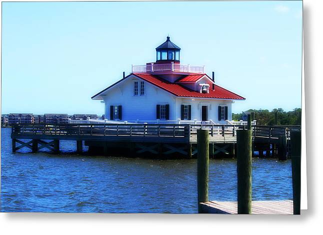 Lighthouse Greeting Cards - Roanoke Marshes Light 4 Greeting Card by Cathy Lindsey
