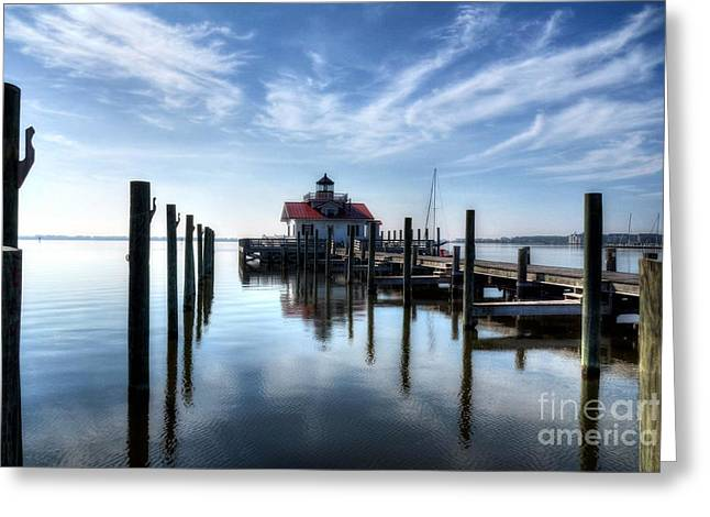 Docked Sailboats Photographs Greeting Cards - Roanoke Marshes Light Greeting Card by Mel Steinhauer