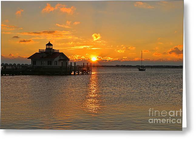 Shallowbag Bay Greeting Cards - Roanoke Marshes Lighthouse 3210 Greeting Card by Jack Schultz