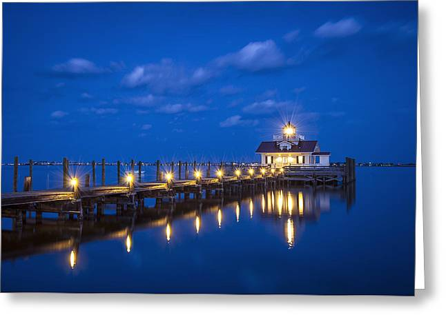 Roanoke Greeting Cards - Roanoke Marshes Lighthouse Manteo NC - Blue Hour Reflections Greeting Card by Dave Allen