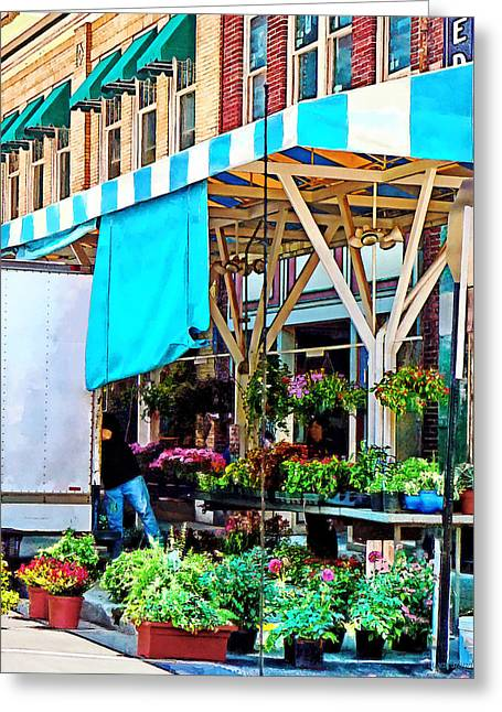 Farmers Market Greeting Cards - Roanoke VA - Unloading Flower Truck Greeting Card by Susan Savad