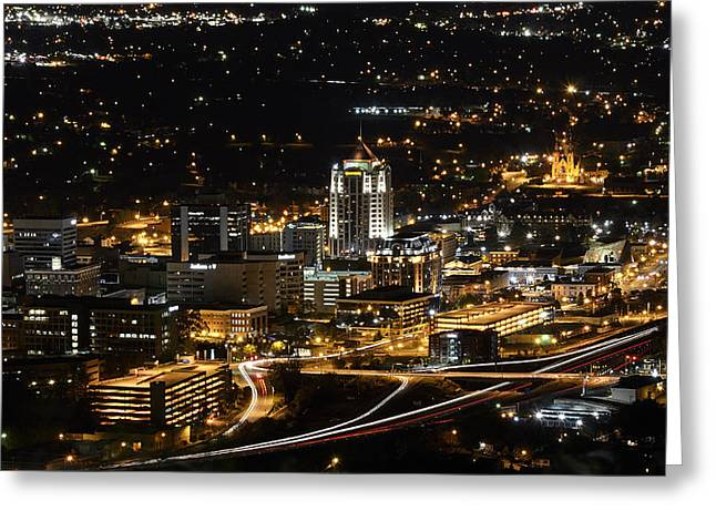 Urban Buildings Greeting Cards - Roanoke Virginia Greeting Card by Brendan Reals