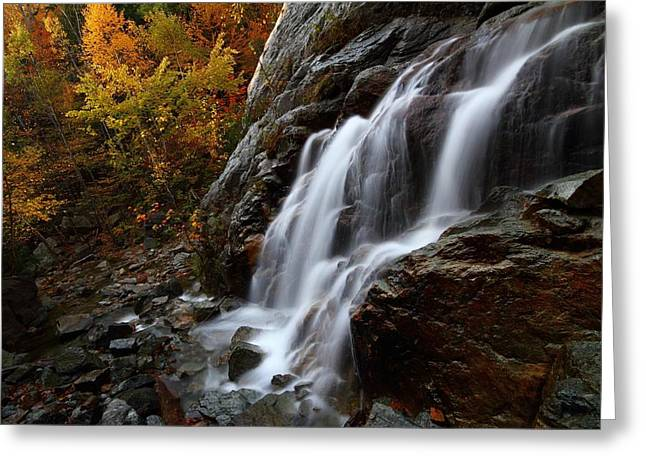 Roaring Falls Greeting Cards - Roaring Brook Falls in autumn Greeting Card by Jetson Nguyen