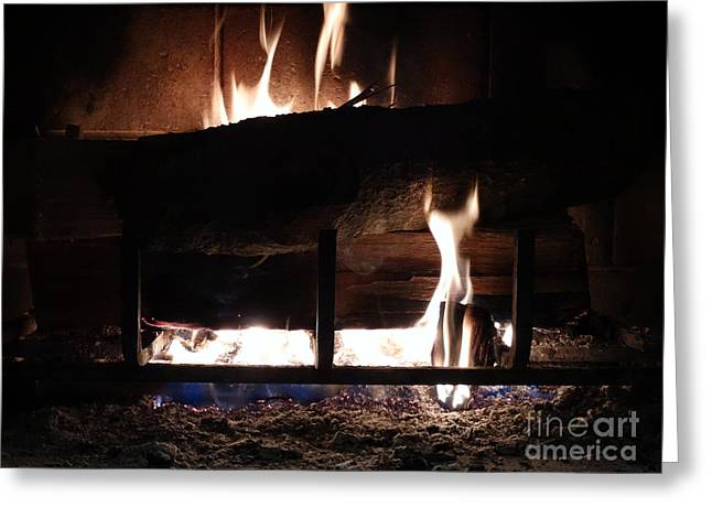 Firepit Greeting Cards - Roaring Fire III Greeting Card by Joseph Baril