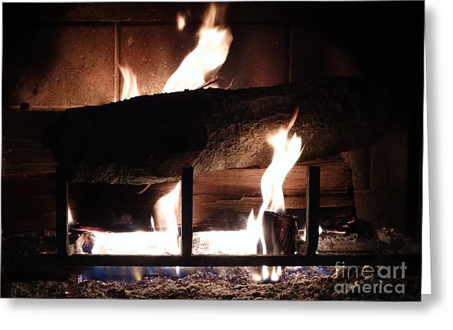 Firepit Greeting Cards - Roaring Fire Greeting Card by Joseph Baril
