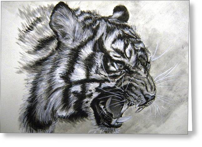 Award Winning Art Greeting Cards - Roaring Tiger Greeting Card by Lori Ippolito