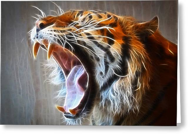 Growling Greeting Cards - Roaring Tiger Greeting Card by Steve McKinzie