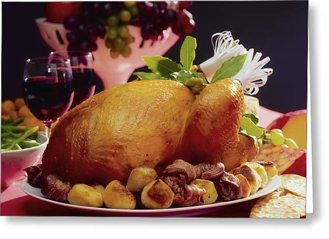 """""""indoor"""" Still Life Photographs Greeting Cards - Roast Turkey With Potatoes Greeting Card by The Irish Image Collection"""