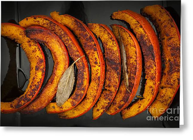 Serve Photographs Greeting Cards - Roasted pumpkin slices Greeting Card by Elena Elisseeva