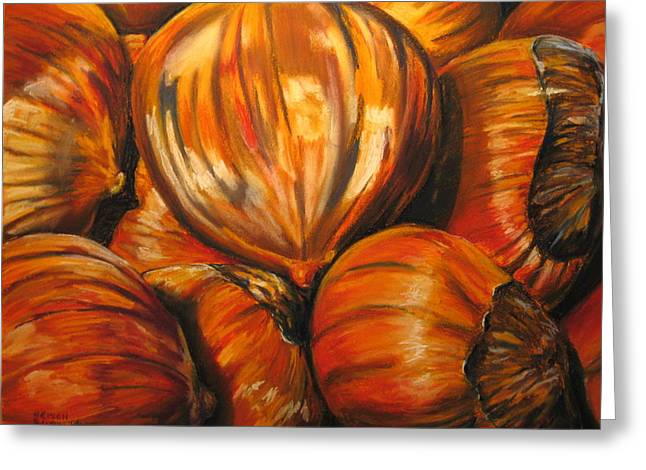 Brown Toned Pastels Greeting Cards - Roasting Chestnuts Greeting Card by Outre Art  Natalie Eisen