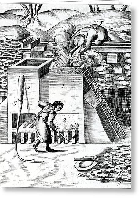 Roasting Gold Ore To Recover The Metal Greeting Card by Universal History Archive/uig