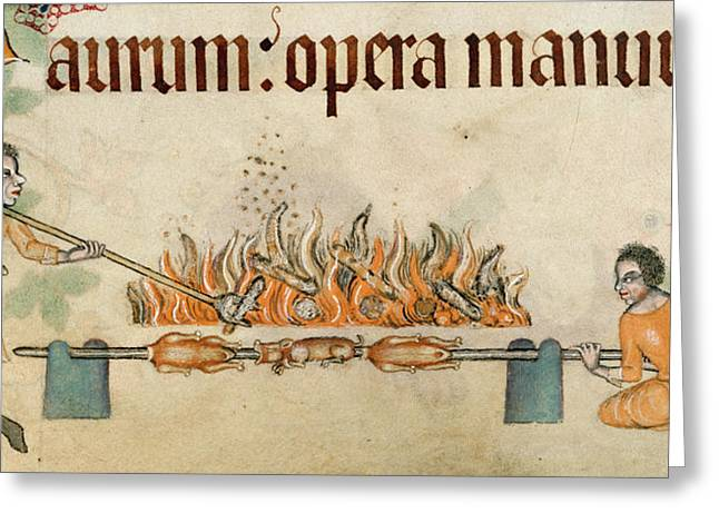 Roasting Meats On A Spit Greeting Card by British Library