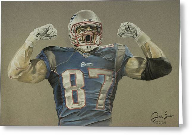 Football Pastels Greeting Cards - Rob Gronkowski  Greeting Card by Jordan Spector