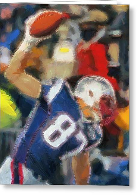 Patriot League Greeting Cards - Rob Gronkowski Greeting Card by Dan Sproul