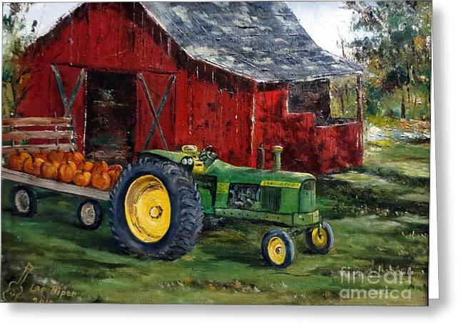 Indiana Autumn Greeting Cards - Rob Smiths Tractor Greeting Card by Lee Piper