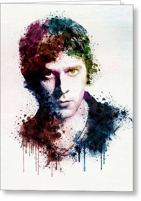 Dark Red Greeting Cards - Rob Thomas watercolor portrait Greeting Card by Marian Voicu