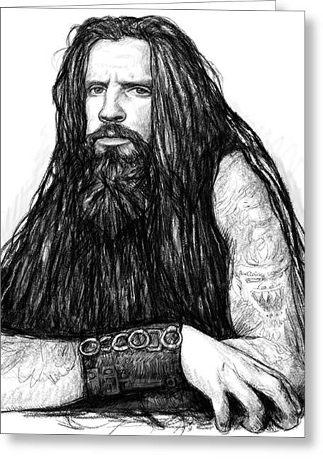 Rob Zombie Art Drawing Sketch Portrait Greeting Card by Kim Wang