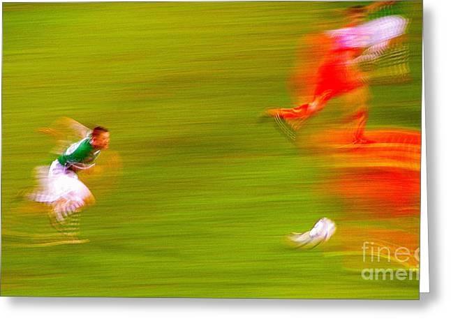 Robbies Greeting Cards - Robbie Keane Ireland soccer Abstarct Greeting Card by Patrick Dinneen