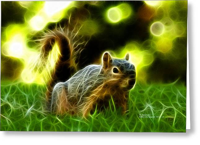 Robbies Greeting Cards - Robbie the Squirrel - 7376 - F Greeting Card by James Ahn