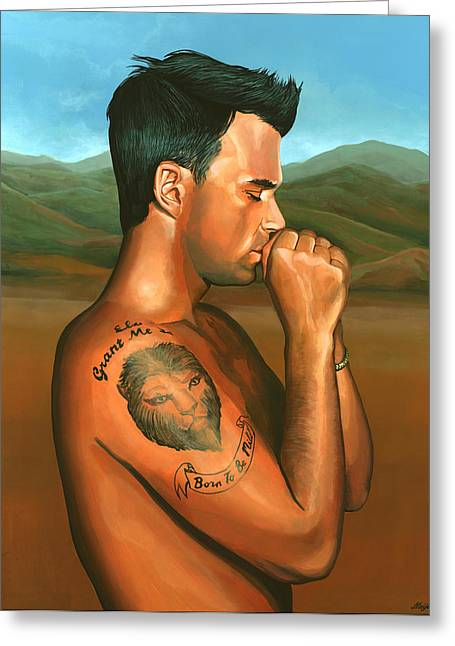 Royal Art Paintings Greeting Cards - Robbie Williams 2 Greeting Card by Paul  Meijering