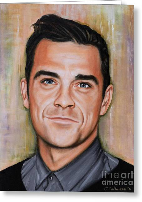 Robbies Greeting Cards - Robbie Williams Greeting Card by Caroline Collinson