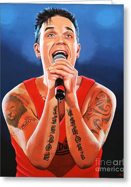 Royal Art Paintings Greeting Cards - Robbie Williams Greeting Card by Paul  Meijering