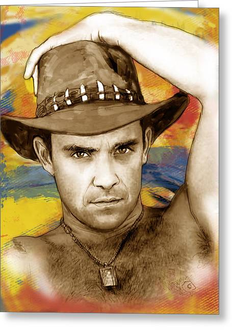 Commercials Mixed Media Greeting Cards - Robbie Williams stylised pop art drawing potrait poser Greeting Card by Kim Wang