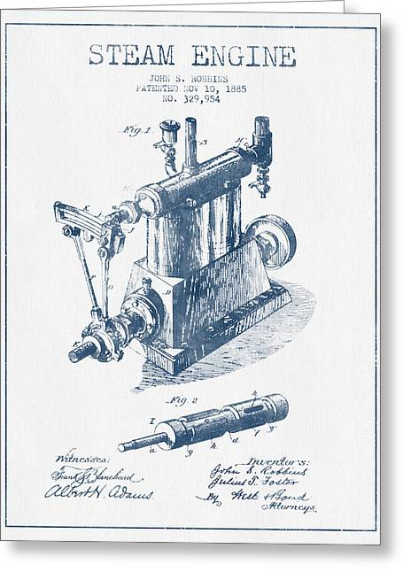Steam Engine Greeting Cards - Robbins Steam Engine Patent Drawing From 1885 - Blue Ink Greeting Card by Aged Pixel