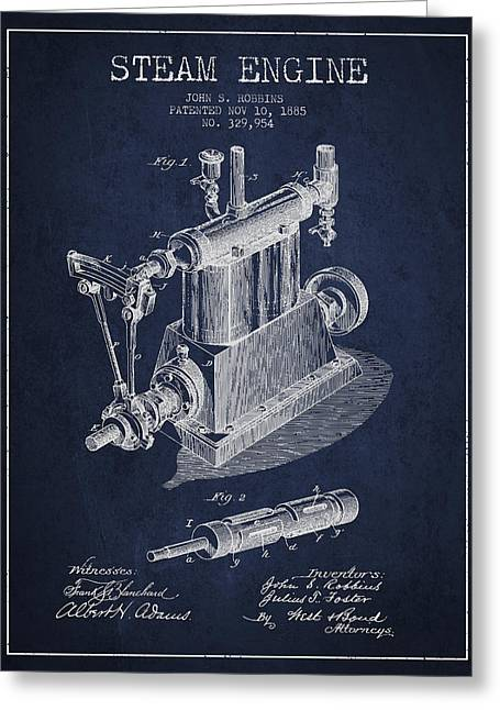 Steam Engine Greeting Cards - Robbins Steam Engine Patent Drawing From 1885 - Navy Blue Greeting Card by Aged Pixel