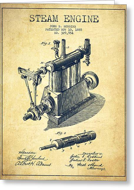 Steam Engine Greeting Cards - Robbins Steam Engine Patent Drawing From 1885 - Vintage Greeting Card by Aged Pixel