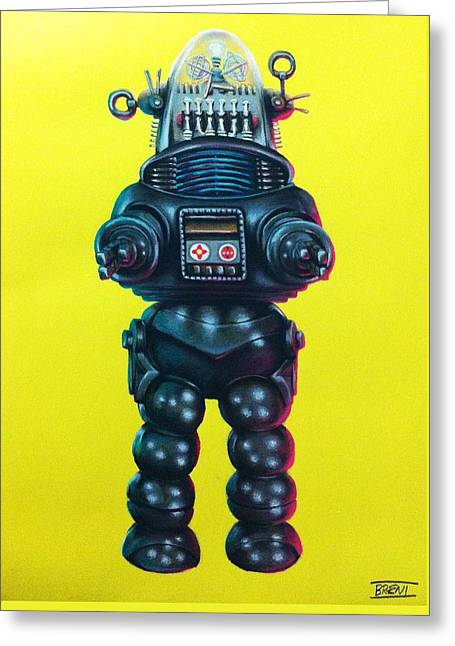Awesome Pastels Greeting Cards - Robby the Robot Greeting Card by Brent Andrew Doty