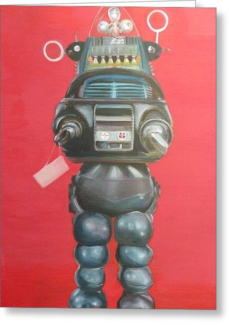 Robby The Robot Greeting Card by Karen Stitt