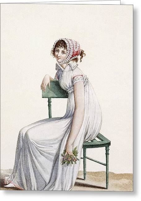 White Dress Drawings Greeting Cards - Robe Chemise, Illustration From Journal Greeting Card by Pierre de La Mesangere