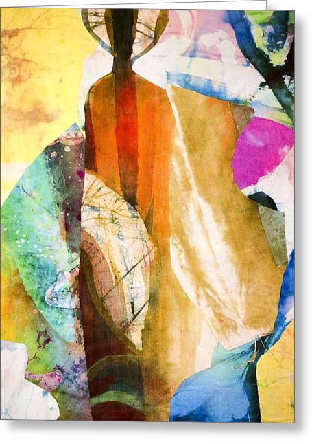 Textile Collage Greeting Cards - Robed Greeting Card by Saihou Njie