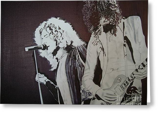 The Les Paul Guitar Greeting Cards - Robert and Jimmy Greeting Card by Stuart Engel